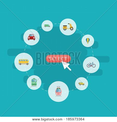 Flat Jeep, Airship, Automobile And Other Vector Elements. Set Of Auto Flat Symbols Also Includes Streetcar, Scooter, Suv Objects.