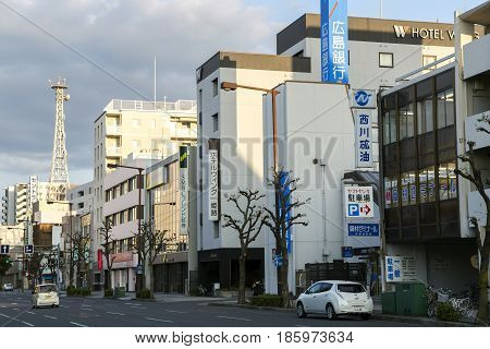 JAPAN, IWAKUNI, APRIL, 03, 2017 - Clean and beautiful streets in a Iwakuni city at Yamaguchi Prefecture, Japan.