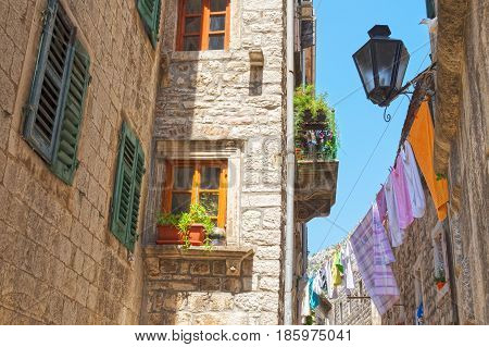 Fragment of old houses in town Kotor Montenegro