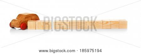 Cubes with space for text and wooden toy car on white background