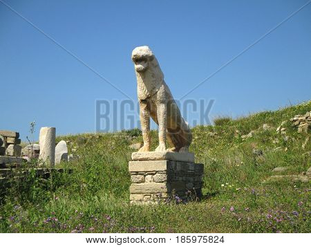 Ancient Lion Statue, the famous symbol of Archaeological Site of Delos Island, Mykonos, Greece, 5th April 2016