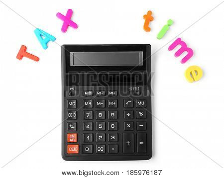 Colorful letters TAX TIME and calculator on white background