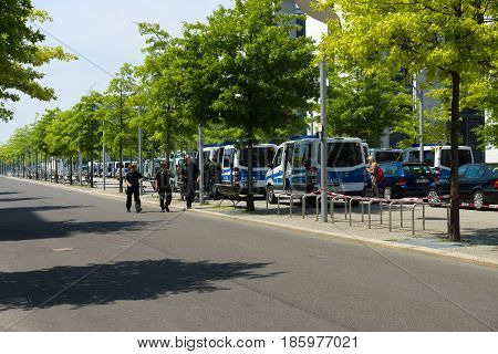 BERLIN - JUNE 19 2013: Police cordon in the government quarter (Regierungsviertel) because of the state visit to Germany by US President Barack Obama.