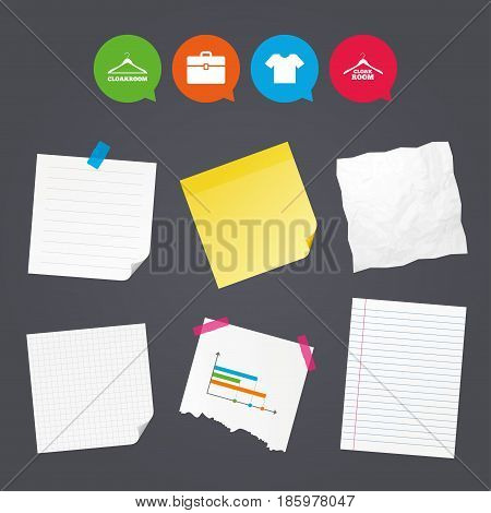 Business paper banners with notes. Cloakroom icons. Hanger wardrobe signs. T-shirt clothes and baggage symbols. Sticky colorful tape. Speech bubbles with icons. Vector