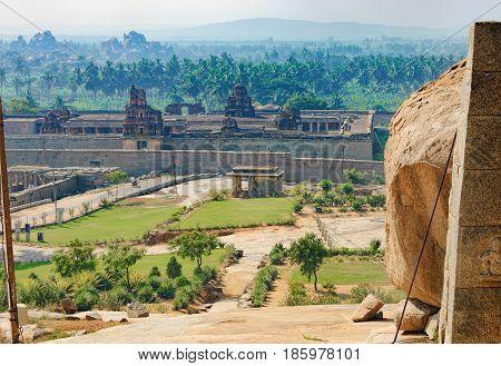 View of Sri Krishna Temple from Hemakuta Hill, the ancient temple in Hampi, Karnataka, India. Ruins of Hampi, a UNESCO World Heritage Site