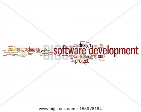 Concept or conceptual software development project coding technology abstract word cloud isolated background. Collage of application web design, seo ideas, implementation, testing upgrade text