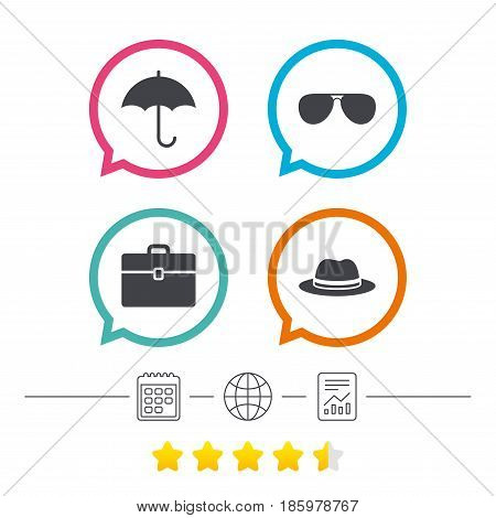 Clothing accessories icons. Umbrella and sunglasses signs. Headdress hat with business case symbols. Calendar, internet globe and report linear icons. Star vote ranking. Vector