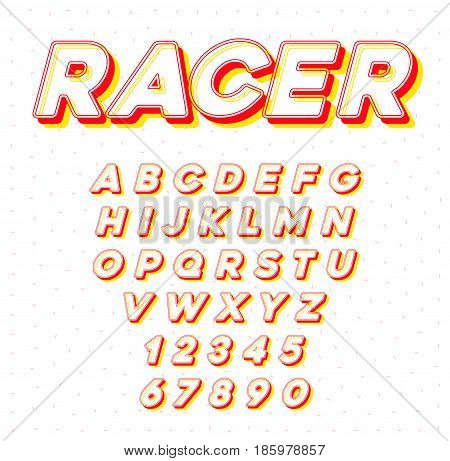 Vector Speed Racing Sport Italic Font with Letters and Numbers