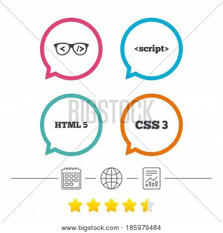 Programmer coder glasses icon. HTML5 markup language and CSS3 cascading style sheets sign symbols. Calendar, internet globe and report linear icons. Star vote ranking. Vector