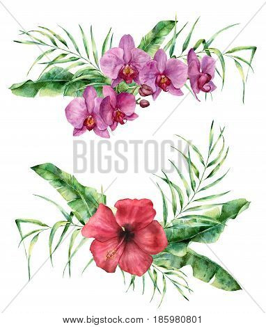 Watercolor floral composition with exotic flowers and leaves. Hand painted bouquet with hibiscus and orchid, palm leaves and branches isolated on white background. Tropical flowers for design.