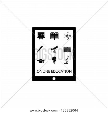 Online education solid pictograms package, E-learning symbols collection, Web mobile services vector sketches, Tablet with apps logo illustrations, filled icons isolated on white background.