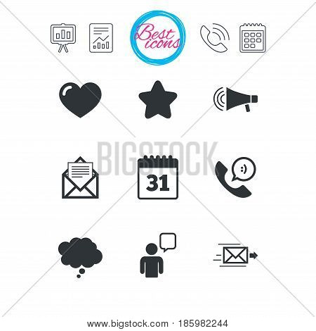 Presentation, report and calendar signs. Mail, contact icons. Favorite, like and calendar signs. E-mail, chat message and phone call symbols. Classic simple flat web icons. Vector