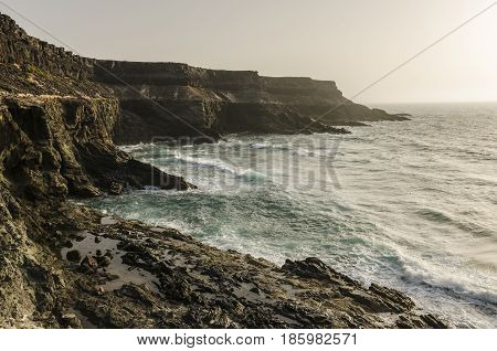 View Of A Cliff In Fuerteventura, Canary Islands, Spain.