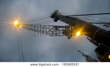Port Cranes Against The Sky. Cargo Industrial Port