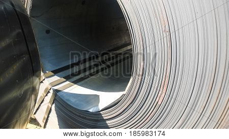 Steel Sheets Rolled Up Into Rolls. Export Steel. Packing Of Stee