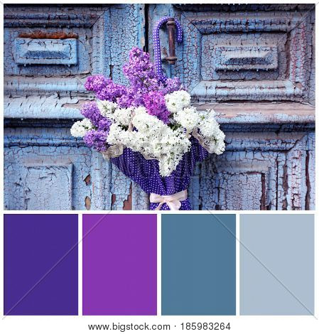 Lilac color matching and flowers in umbrella hanging on old door handle