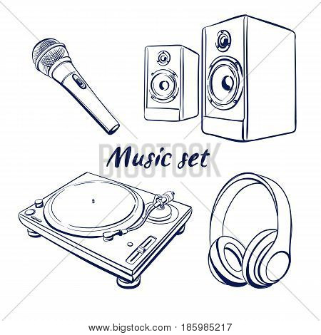 hand drawn illustrations of Dj icons headphones microphone speakers vinyl player Hand drawn doodle vector illustration