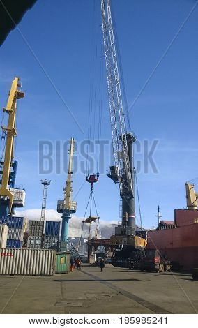 Port Cranes. Industrial Port. Cargo Docks And Lifts