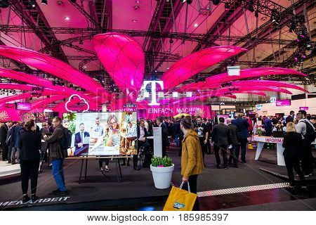 Hannover, Germany - March, 2017: Deutsche Telekom company on exhibition Cebit 2017 in Hannover Messe, Germany
