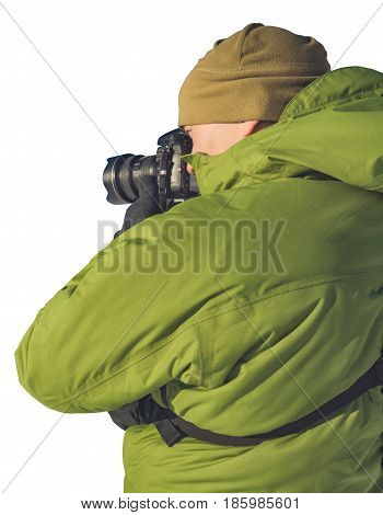 Photographer holding a camera isolated on a white background.