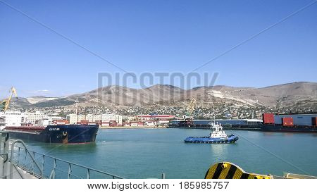 Port Landscape. View Of The Industrial Port. The Sea, Port Crane