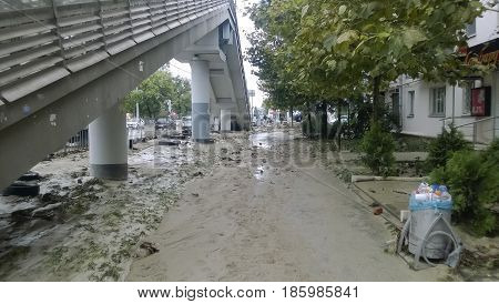 Consequences Of The Strongest Downpour In The City Of Novorossiysk. Riot Of The Elements. Mud Deposi