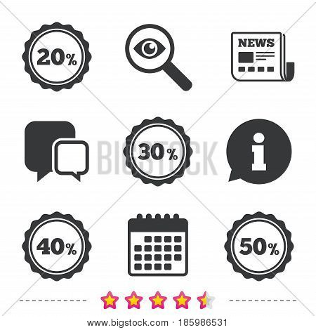Sale discount icons. Special offer stamp price signs. 20, 30, 40 and 50 percent off reduction symbols. Newspaper, information and calendar icons. Investigate magnifier, chat symbol. Vector