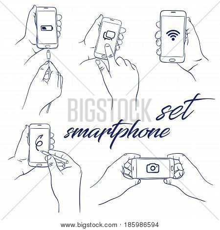 doodle set of hand holding smart-phone or phone - hand-drawn. Vector sketch illustration isolated over white background. Smartphone white screen
