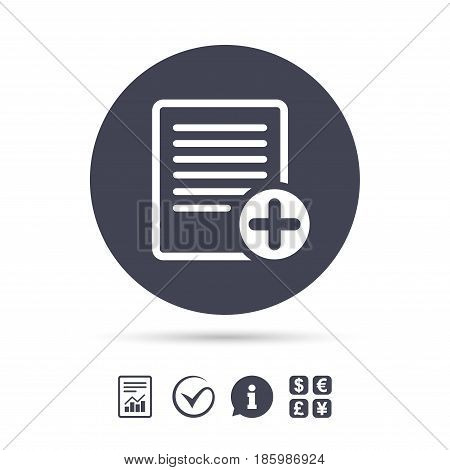 Text file sign icon. Add File document symbol. Report document, information and check tick icons. Currency exchange. Vector