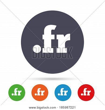 Domain FR sign icon. Top-level internet domain symbol. Round colourful buttons with flat icons. Vector