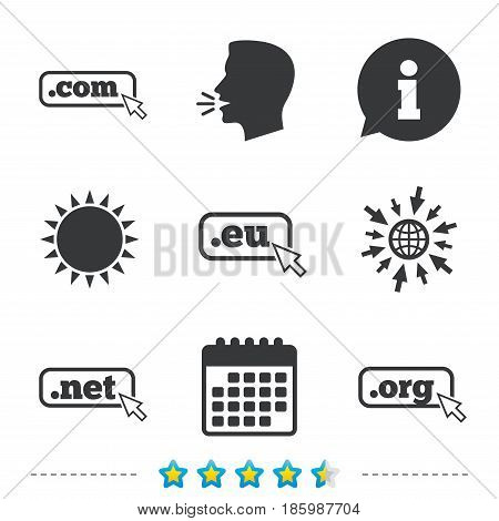 Top-level internet domain icons. Com, Eu, Net and Org symbols with cursor pointer. Unique DNS names. Information, go to web and calendar icons. Sun and loud speak symbol. Vector