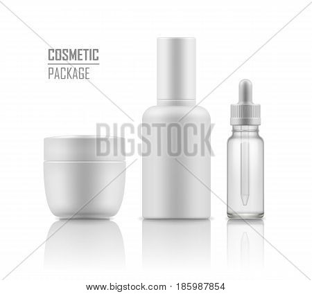 Set of realistic empty packages for skincare cosmetic. Collection of blank template of container face cream jar, tube, glass bottle for essence or serum. Vector mockup isolated on white