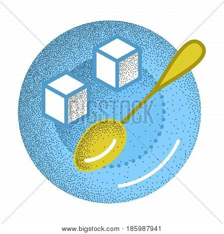Tea icon retro texture. Refined sugar cubes and spoon on plate. Ingredient for sweet tea or coffee. Vector vintage icon. Illustration isolated on white background.