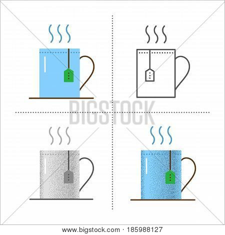 Set of cup with hot drink icons in different styles retro, flat, thin line, black and white with vintage texture. Mug with tea bag. Vector illustration isolated on white background.