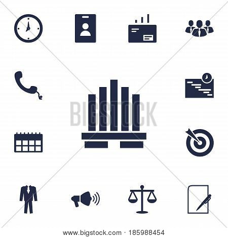 Set Of 13 Enterprise Icons Set.Collection Of Pen, Goal, Graph And Other Elements.