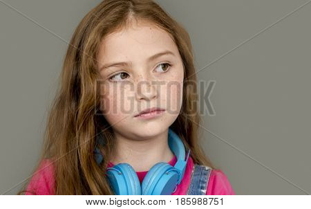 Lonely Little Girl Sad Boredom Depress Expression Music Headphones
