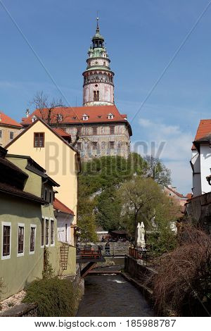Cesky Kromlov, Czech Republic, view on tower from island Osrtove.
