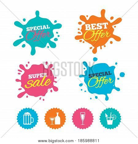 Best offer and sale splash banners. Alcoholic drinks icons. Champagne sparkling wine and beer symbols. Wine glass and cocktail signs. Web shopping labels. Vector