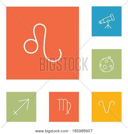 Set Of 6 Galaxy Outline Icons Set.Collection Of Sagittarius, Telescope, Aries And Other Elements.