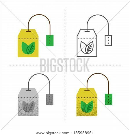 Set of tea bag vector illustration in different styles retro, flat, thin line, black and white with vintage texture. Teabag with healthy herbal, ceylon, chinese green tea. Icons isolated on white