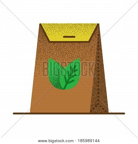 Tea packed in a paper bag. Packaging for herbal tea or spices. Vector vintage icon. Illustration isolated on white background.