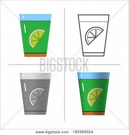 Glass with green tea and lemon. Water with citrus fruit or lemonade - healthy summer drink. Vector icons set in different styles retro, flat, thin line, black and white with vintage texture.