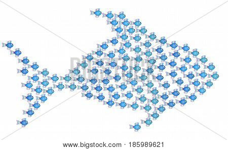 Little fishes get together forming a big fish to be strong, safe and powerful - isolated vector illustration on white background.