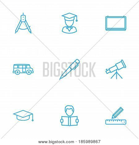Set Of 9 Science Outline Icons Set.Collection Of Graduation Cap, Bus, School Board And Other Elements.