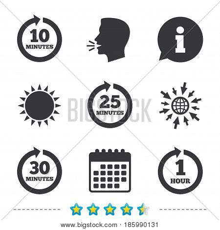 Every 10, 25, 30 minutes and 1 hour icons. Full rotation arrow symbols. Iterative process signs. Information, go to web and calendar icons. Sun and loud speak symbol. Vector