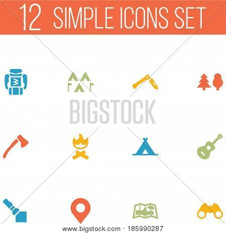 Set Of 12 Outdoor Icons Set.Collection Of Acoustic, Backpack, Map And Other Elements.