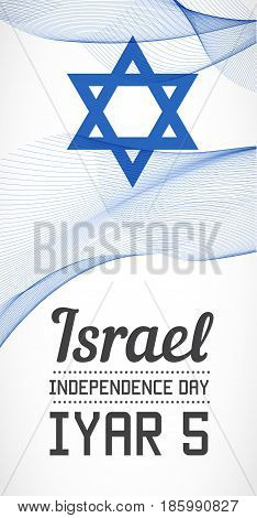 National Day Vertical Banner of the Country in Blending Lines Style Vector with Date. Iyar means April-May on Hebrew.