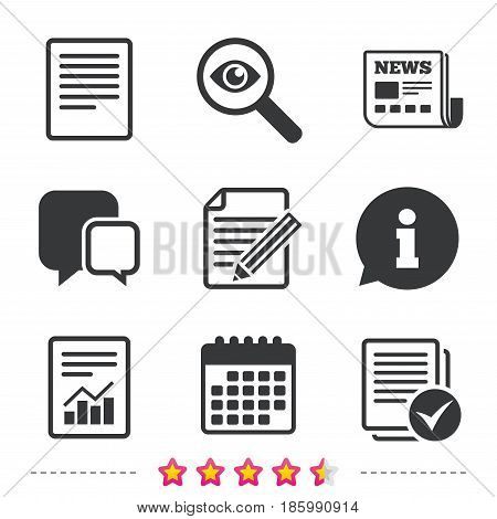 File document icons. Document with chart or graph symbol. Edit content with pencil sign. Select file with checkbox. Newspaper, information and calendar icons. Investigate magnifier, chat symbol