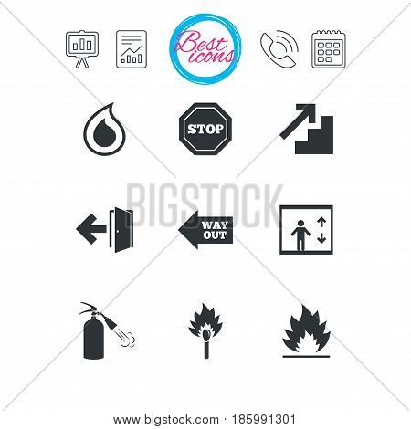 Presentation, report and calendar signs. Fire safety, emergency icons. Fire extinguisher, exit and stop signs. Elevator, water drop and match symbols. Classic simple flat web icons. Vector