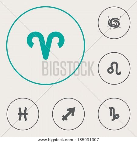 Set Of 6 Astrology Icons Set.Collection Of Ram, Space, Lion And Other Elements.